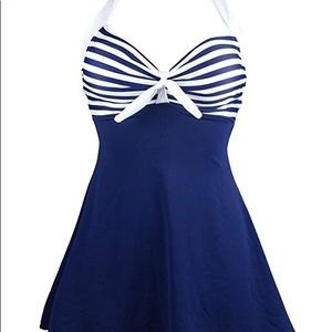 Sailor navy and white bathing suit. Size large.